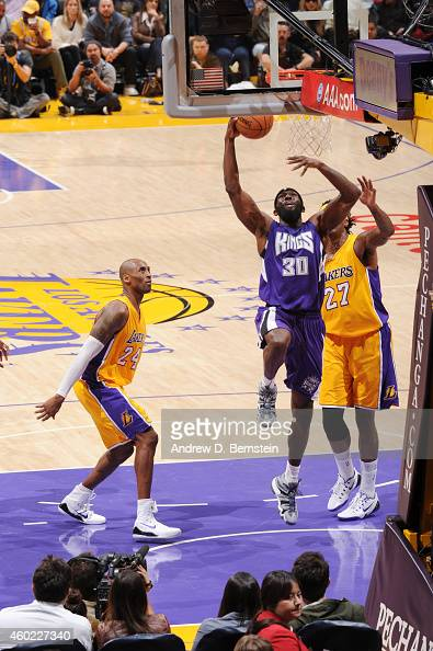 Reggie Evans of the Sacramento Kings shoots against the Los Angeles Lakers on December 9 2014 at STAPLES Center in Los Angeles California NOTE TO...