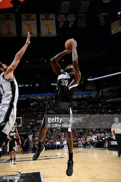Reggie Evans of the Sacramento Kings shoots against the San Antonio Spurs at the ATT Center on October 20 2014 in San Antonio Texas NOTE TO USER User...