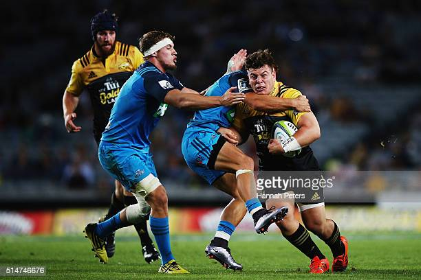 Reggie Goodes of the Hurricanes charges forward during the round three Super Rugby match between the Blues and the Hurricanes at Eden Park on March...