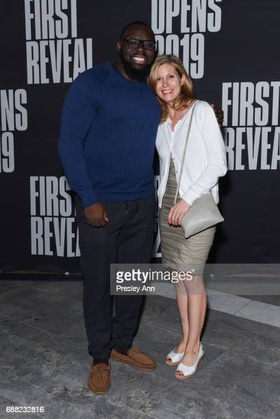 Reggie Gray and Kathryn SpellmanPoots attend The Shed First Reveal VIP Cocktail Party at The Shed on May 24 2017 in New York City