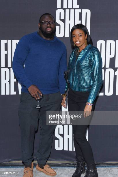 Reggie Grey and Ditra Brazz attend The Shed First Reveal VIP Cocktail Party at The Shed on May 24 2017 in New York City