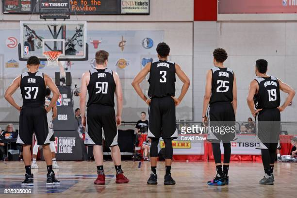 Reggie Hearn Jack Cooley Skal Labissiere Justin Jackson and Naz Mitrou Long of the Sacramento Kings stand on the court during the 2017 Summer League...