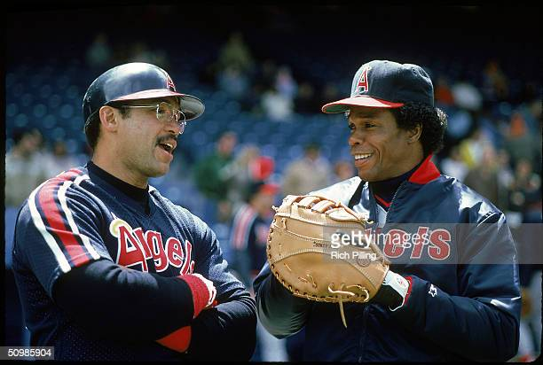 Reggie Jackson and Rod Carew of the California Angels share a laugh prior to a 1983 season fame