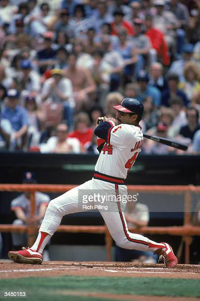 Reggie Jackson of the California Angels swings at a pitch during a June 1982 game at Angel Staium in Anaheim California