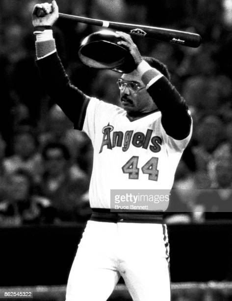 Reggie Jackson of the California Angels wipes his brow during an MLB game circa April 1982 at Anaheim Stadium in Anaheim California