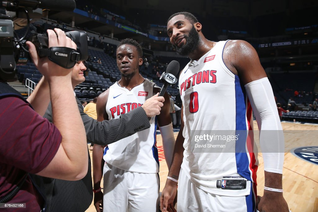 Reggie Jackson #1 of the Detroit Pistons and Andre Drummond #0 of the Detroit Pistons speak with media after the game against the Minnesota Timberwolves on November 19, 2017 at Target Center in Minneapolis, Minnesota.
