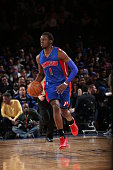 Reggie Jackson of the Detroit Pistons brings the ball up court against the New York Knicks on April 15 2015 at Madison Square Garden in New York City...