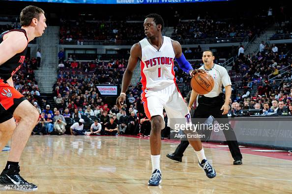 Reggie Jackson of the Detroit Pistons defends the ball against the Toronto Raptors during the game on March 24 2015 at The Palace of Auburn Hills in...