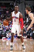 Reggie Jackson of the Detroit Pistons dribbles against the Memphis Grizzlies on March 17 2015 at the Palace of Auburn Hills in Auburn Hills Michigan...