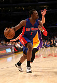 Reggie Jackson of the Detroit Pistons drives against the Los Angeles Lakers at Staples Center on March 10 2015 in Los Angeles California The Lakers...