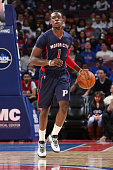 Reggie Jackson of the Detroit Pistons drives to the basket against the Washington Wizards during the game on February 22 2015 at Palace of Auburn...