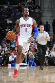Reggie Jackson of the Detroit Pistons drives to the basket against the Indiana Pacers during the game on April 10 2015 at The Palace of Auburn in...