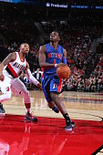 Reggie Jackson of the Detroit Pistons drives to the basket against the Portland Trail Blazers on November 8 2015 at the Moda Center in Portland...