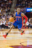 Reggie Jackson of the Detroit Pistons drives to the paint during the first half against the Cleveland Cavaliers at Quicken Loans Arena on April 13...