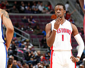 Reggie Jackson of the Detroit Pistons during the game against the Miami Heat on April 4 2015 at The Palace of Auburn Hills in Auburn Hills Michigan...