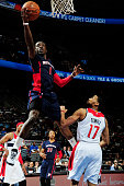 Reggie Jackson of the Detroit Pistons goes for the layup against the Washington Wizards during the game on February 22 2015 at Palace of Auburn Hills...