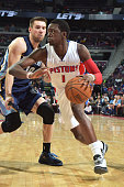 Reggie Jackson of the Detroit Pistons handles the ball against the Memphis Grizzlies on March 17 2015 at The Palace of Auburn Hills in Auburn Hills...