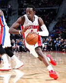 Reggie Jackson of the Detroit Pistons handles the ball against the Atlanta Hawks on March 31 2015 at the Palace of Auburn Hills in Auburn Hills...