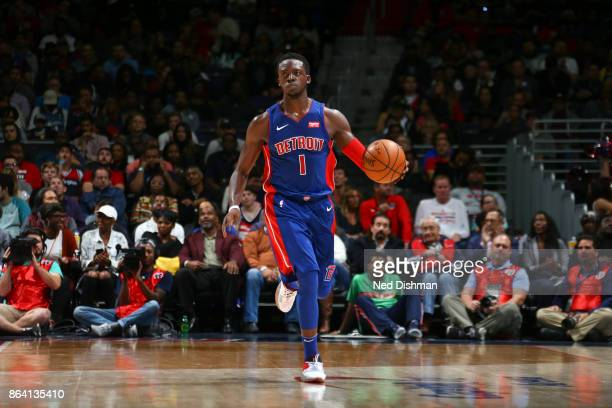 Reggie Jackson of the Detroit Pistons handles the ball during game against the Washington Wizards on October 20 2017 at Capital One Arena in...