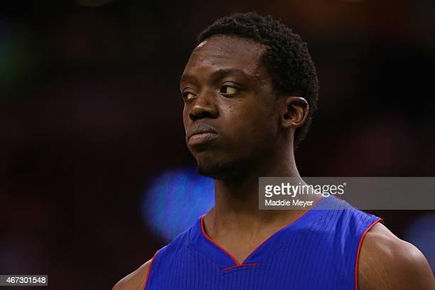 Reggie Jackson of the Detroit Pistons looks on during the fourth quarter at TD Garden on March 22 2015 in Boston MassachusettsThe Pistons defeat the...