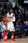 Reggie Jackson of the Detroit Pistons looks to move the ball against the Miami Heat during the game on April 4 2015 at The Palace of Auburn Hills in...