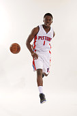 Reggie Jackson of the Detroit Pistons poses during media day on September 28 2015 at The Palace of Auburn Hills in Auburn Hills Michigan NOTE TO USER...