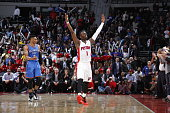 Reggie Jackson of the Detroit Pistons reacts after a play against the Oklahoma City Thunder during the game on March 29 2016 at The Palace of Auburn...