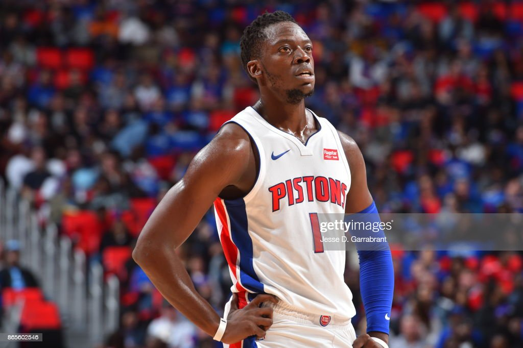 Reggie Jackson #1 of the Detroit Pistons reacts during the game against the Charlotte Hornets on October 18, 2017 at Little Caesars Arena in Detroit, Michigan.