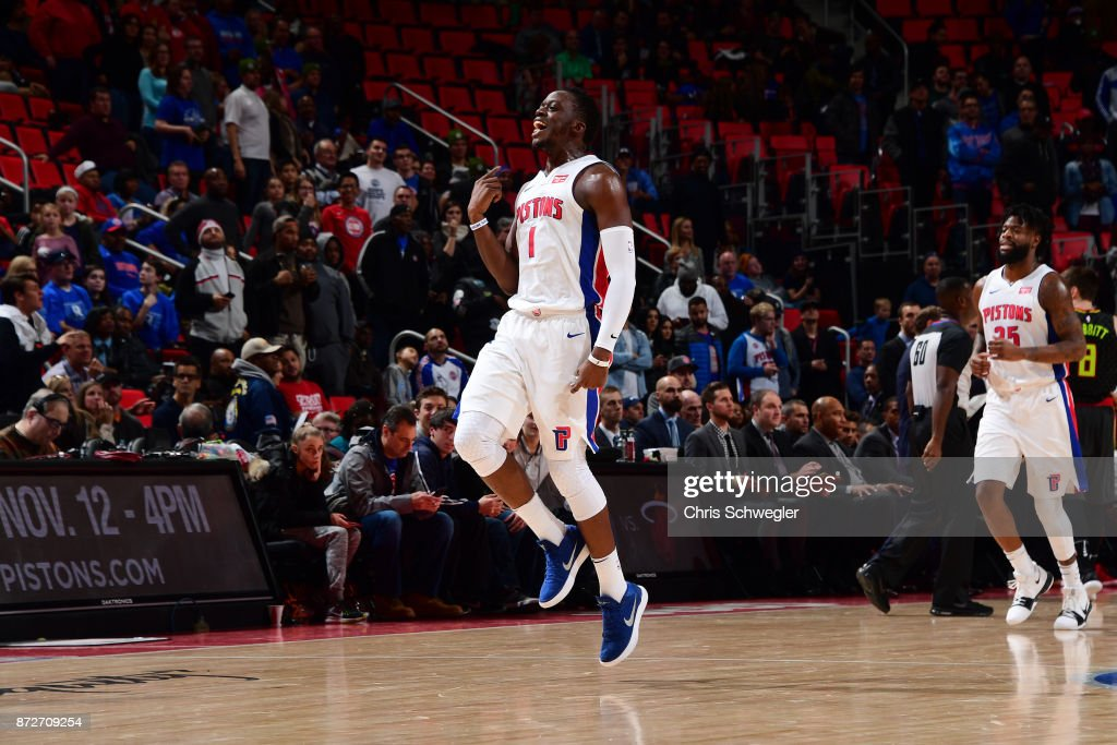 Reggie Jackson #1 of the Detroit Pistons reacts during the game against the Atlanta Hawks on November 10, 2017 at Little Caesars Arena in Auburn Hills, Michigan.