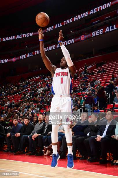 Reggie Jackson of the Detroit Pistons shoots the ball against the Minnesota Timberwolves on October 25 2017 at Little Caesars Arena in Detroit...