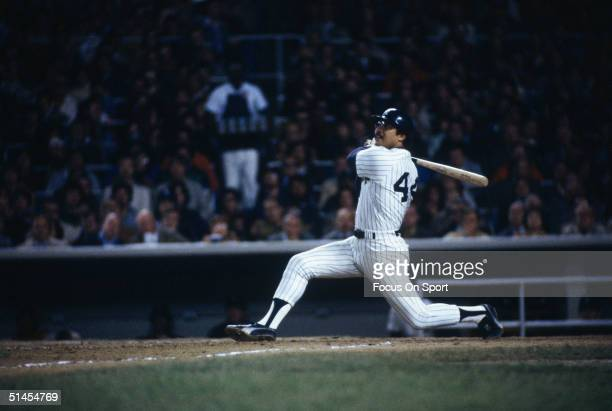 Reggie Jackson of the New York Yankees bats during the World Series against the Los Angeles Dodgers at Yankee Stadium in Brox NY on October 18 1977