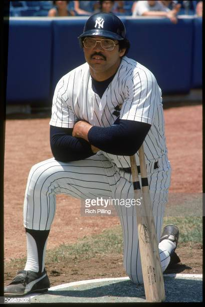 Reggie Jackson of the New York Yankees poses for a portrait in 1977 at Yankee Stadium in Bronx New York