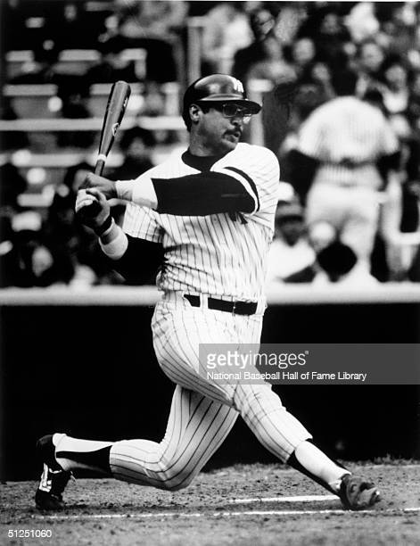 Reggie Jackson of the New York Yankees swings at a pitch