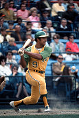 Reggie Jackson of the Oakland Athletics bats against the Baltimore Orioles during an Major League Baseball game circa 1969 at Memorial Stadium in...
