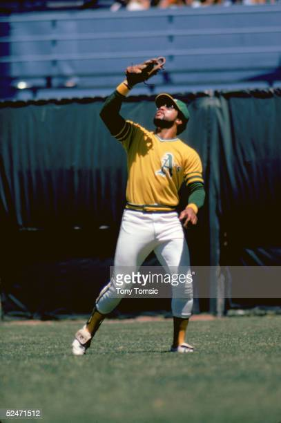 Reggie Jackson of the Oakland Athletics moves to catch the popfly during a 1974 season game OaklandAlameda County Coliseum in Oakland California