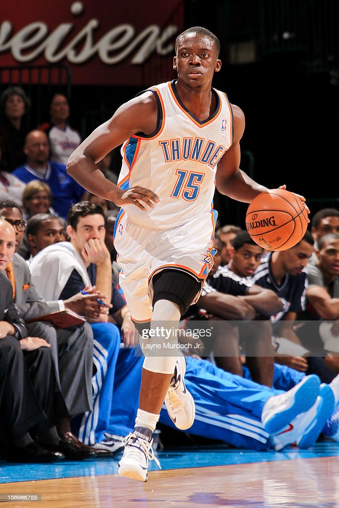Reggie Jackson #15 of the Oklahoma City Thunder brings the ball up court against the Charlotte Bobcats on November 26, 2012 at the Chesapeake Energy Arena in Oklahoma City, Oklahoma.