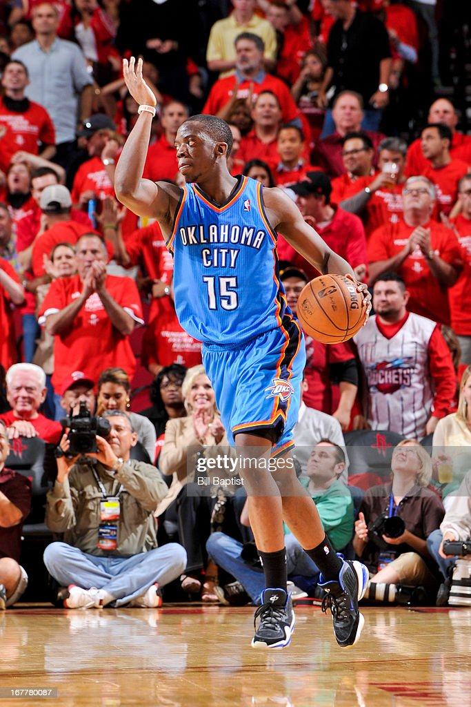 Reggie Jackson #15 of the Oklahoma City Thunder calls a play to his teammates against the Houston Rockets in Game Four of the Western Conference Quarterfinals during the 2013 NBA Playoffs on April 29, 2013 at the Toyota Center in Houston, Texas.