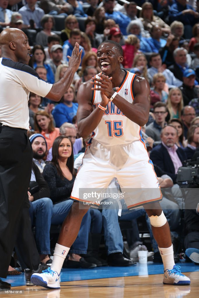 Reggie Jackson #15 of the Oklahoma City Thunder celebrates a play against the San Antonio Spurs on April 4, 2013 at the Chesapeake Energy Arena in Oklahoma City, Oklahoma.