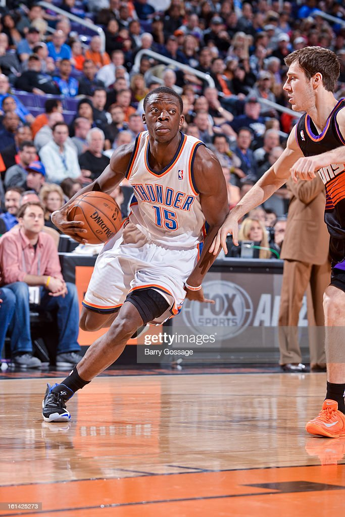 Reggie Jackson #15 of the Oklahoma City Thunder drives against <a gi-track='captionPersonalityLinkClicked' href=/galleries/search?phrase=Goran+Dragic&family=editorial&specificpeople=4452965 ng-click='$event.stopPropagation()'>Goran Dragic</a> #1 of the Phoenix Suns on February 10, 2013 at U.S. Airways Center in Phoenix, Arizona.