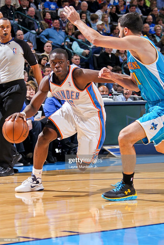 Reggie Jackson #15 of the Oklahoma City Thunder drives against <a gi-track='captionPersonalityLinkClicked' href=/galleries/search?phrase=Greivis+Vasquez&family=editorial&specificpeople=4066977 ng-click='$event.stopPropagation()'>Greivis Vasquez</a> #21 of the New Orleans Hornets on February 27, 2013 at the Chesapeake Energy Arena in Oklahoma City, Oklahoma.