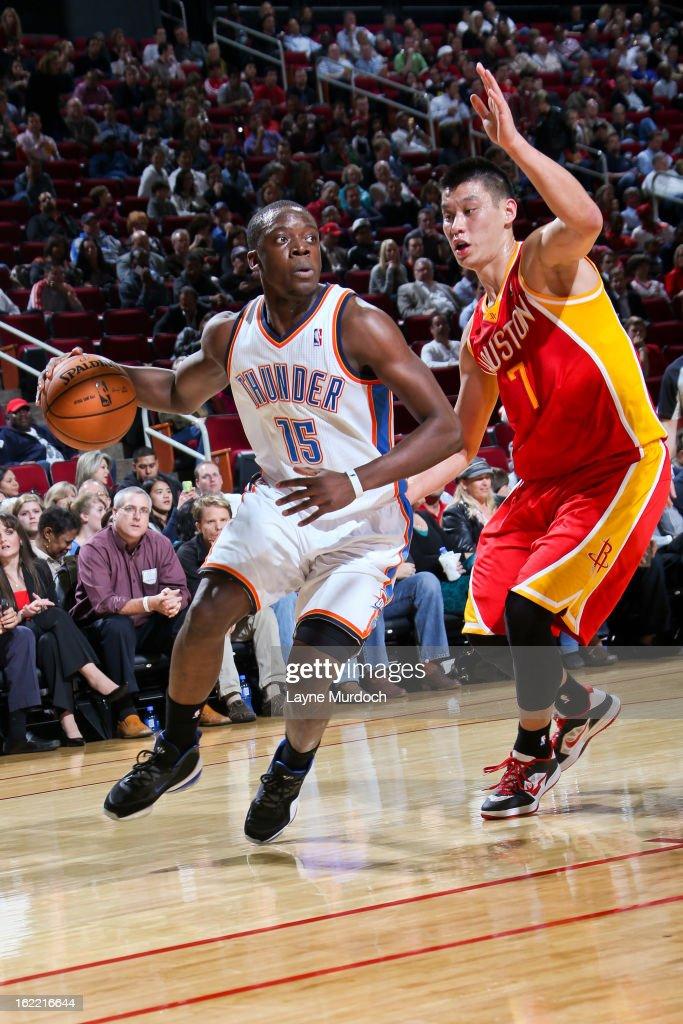 Reggie Jackson #15 of the Oklahoma City Thunder drives against Jeremy Lin #7 of the Houston Rockets on February 20, 2013 at the Toyota Center in Houston, Texas.