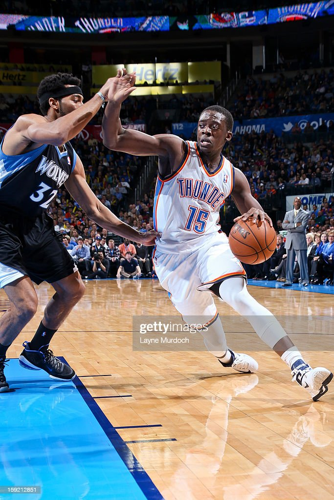 Reggie Jackson #15 of the Oklahoma City Thunder drives against Lazar Hayward #32 of the Minnesota Timberwolves on January 9, 2013 at the Chesapeake Energy Arena in Oklahoma City, Oklahoma.