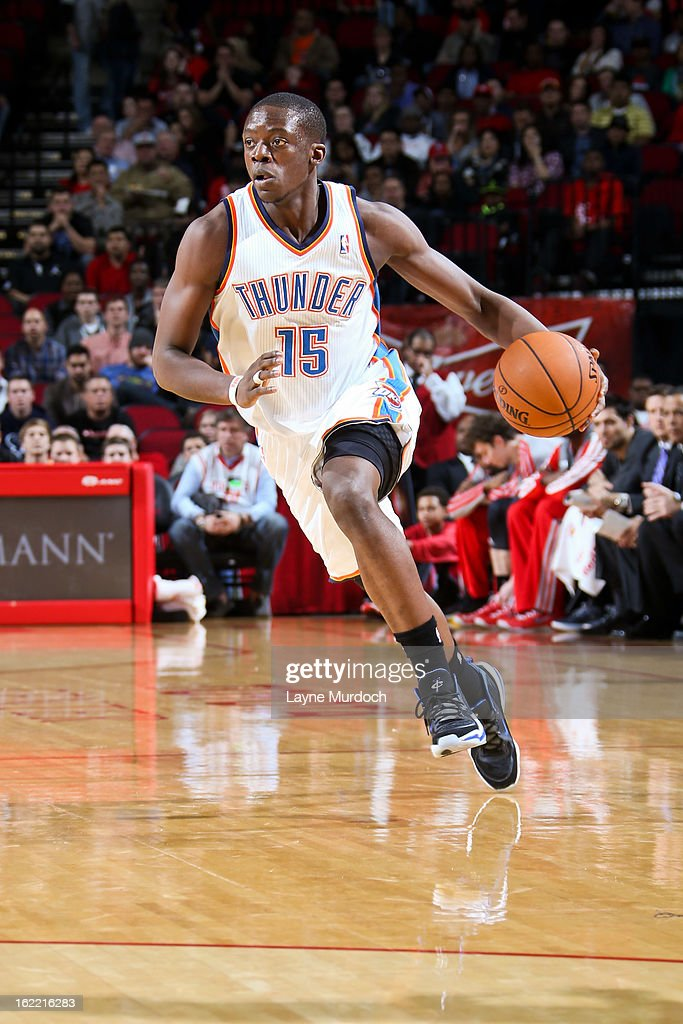 Reggie Jackson #15 of the Oklahoma City Thunder drives against the Houston Rockets on February 20, 2013 at the Toyota Center in Houston, Texas.