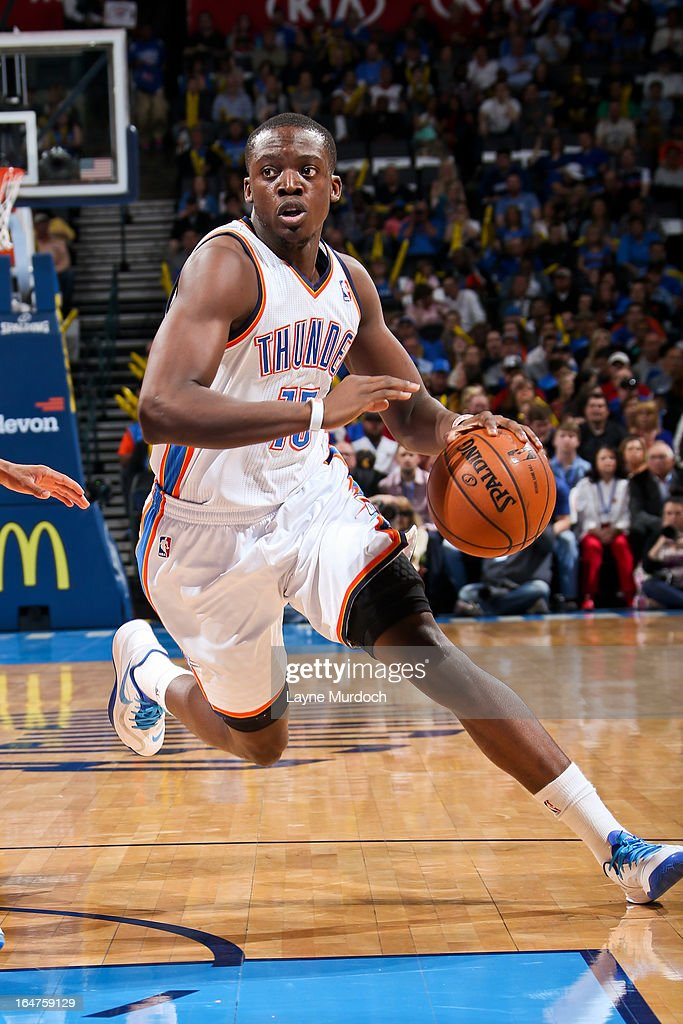 Reggie Jackson #15 of the Oklahoma City Thunder drives against the Washington Wizards on March 27, 2013 at the Chesapeake Energy Arena in Oklahoma City, Oklahoma.