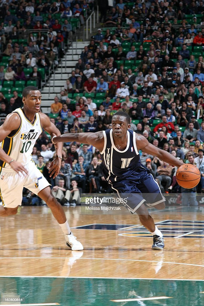 Reggie Jackson #15 of the Oklahoma City Thunder drives to the basket against the Utah Jazz on February 12, 2013 in Salt Lake City, Utah.