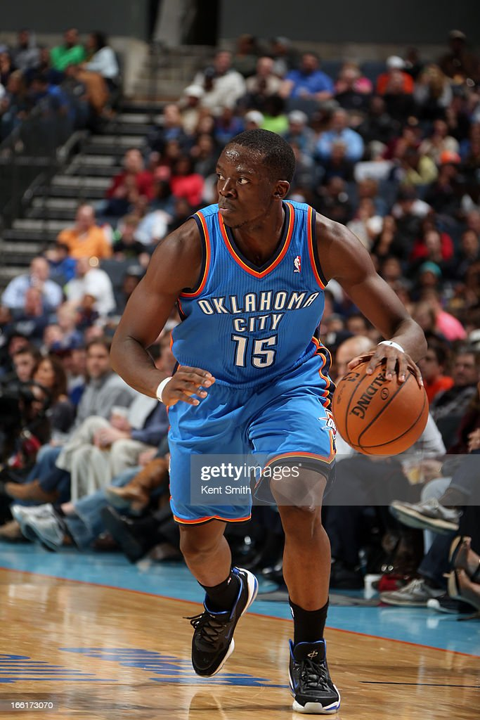 Reggie Jackson #15 of the Oklahoma City Thunder drives to the basket against the Charlotte Bobcats at the Time Warner Cable Arena on March 8, 2013 in Charlotte, North Carolina.
