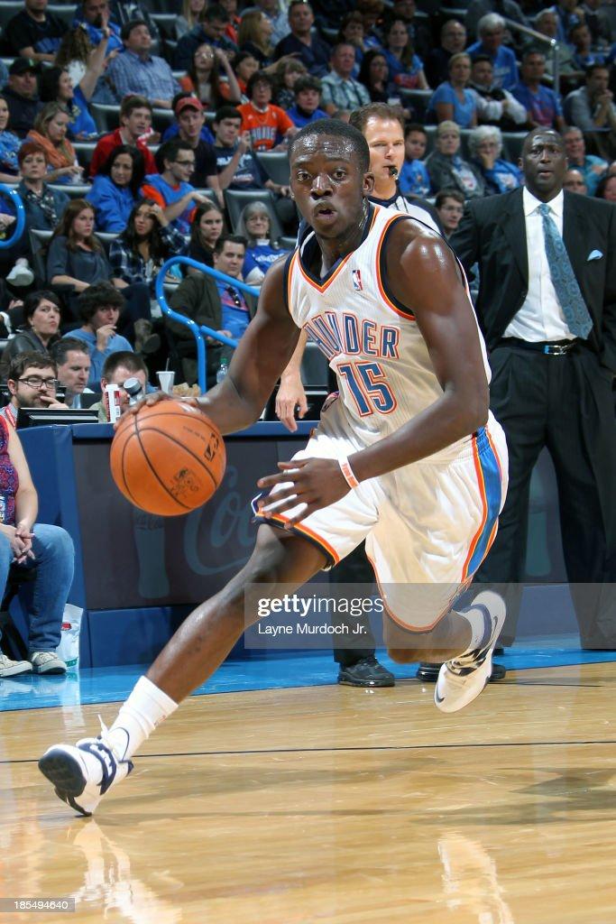 Reggie Jackson #5 of the Oklahoma City Thunder drives to the basket against the Utah Jazz during an NBA preseason game on October 20, 2013 at the Chesapeake Energy Arena in Oklahoma City, Oklahoma.