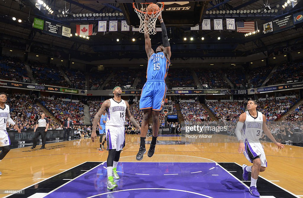 Reggie Jackson #15 of the Oklahoma City Thunder dunks against the Sacramento Kings on April 8, 2014 at Sleep Train Arena in Sacramento, California.