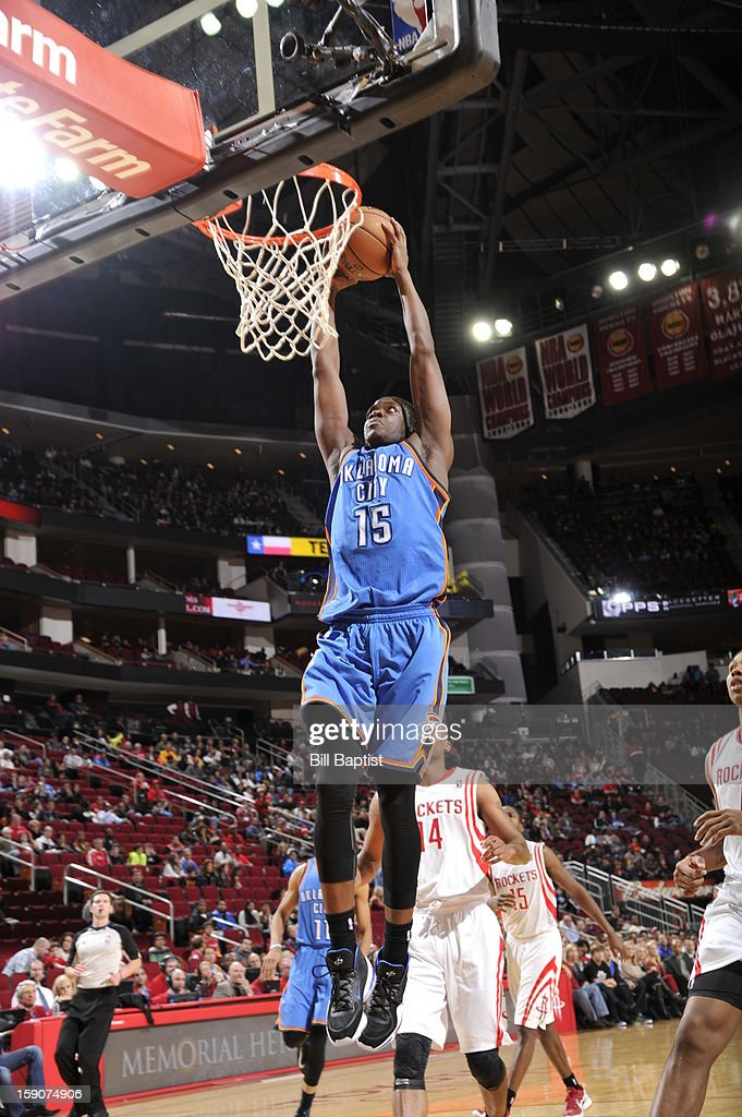 Reggie Jackson #15 of the Oklahoma City Thunder goes in for the dunk against the Houston Rockets on December 29, 2012 at the Toyota Center in Houston, Texas.