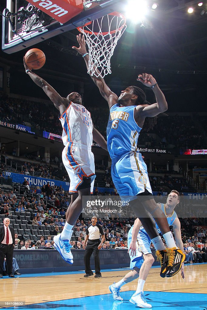 Reggie Jackson #15 of the Oklahoma City Thunder goes up for the dunk against Kenneth Faried #35 of the Denver Nuggets during an NBA game on March 19, 2013 at the Chesapeake Energy Arena in Oklahoma City, Oklahoma.